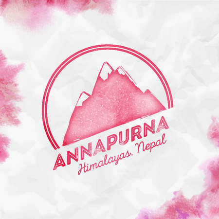 Mountain Annapurna   Round mountain red vector insignia. Annapurna in Himalayas, Nepal outdoor adventure illustration.