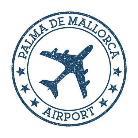 Palma De Mallorca Airport logo. Airport stamp vector illustration. Palma De Mallorca aerodrome. Ilustração