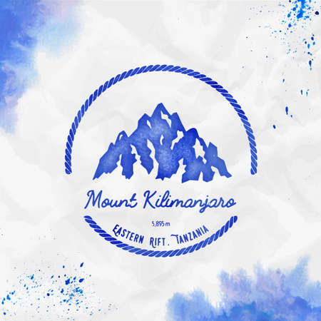 Round hiking blue vector insignia. Kilimanjaro in Eastern Rift, Tanzania outdoor adventure illustration.