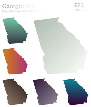 Map of Georgia with beautiful gradients. Beauteous set of Georgia maps. Attractive vector illustration.