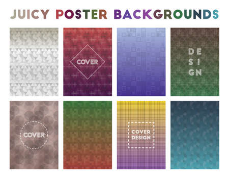 Juicy Poster Backgrounds. Adorable geometric patterns. Trending background. Vector illustration.