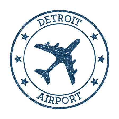 Detroit Airport logo. Airport stamp vector illustration. Detroit aerodrome.