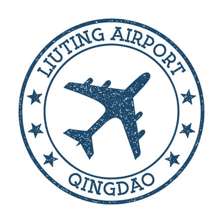 Liuting Airport Qingdao logo. Airport stamp vector illustration. Qingdao aerodrome.