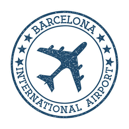Barcelona International Airport logo. Airport stamp vector illustration. Barcelona aerodrome. Standard-Bild - 122259270