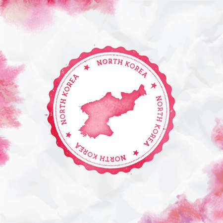 Korea, Democratic Peoples Republic Of watercolor round rubber stamp with country map. Red Korea, Democratic Peoples Republic Of passport stamp with circular text and stars, vector illustration. Illustration