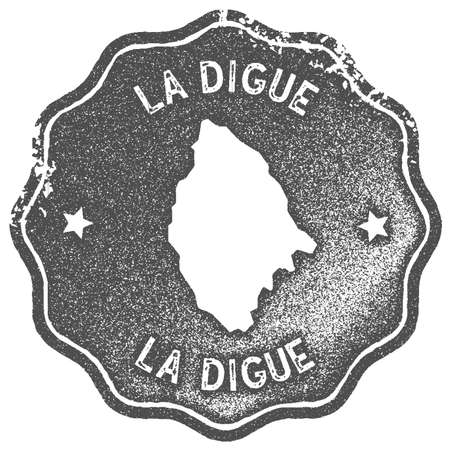 La Digue map vintage stamp. Retro style handmade label, badge or element for travel souvenirs. Grey rubber stamp with island map silhouette. Vector illustration.