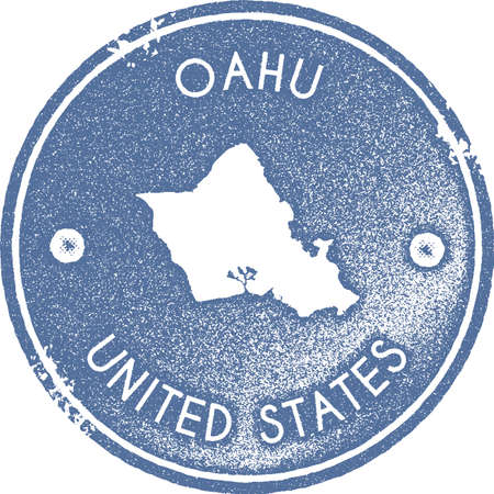 Oahu map vintage stamp. Retro style handmade label, badge or element for travel souvenirs. Light blue rubber stamp with island map silhouette. Vector illustration.
