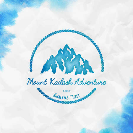 Kailash  Round hiking turquoise vector insignia. Kailash in Himalayas, Tibet outdoor adventure illustration. Climbing, trekking, hiking, mountaineering and other extreme activities template.