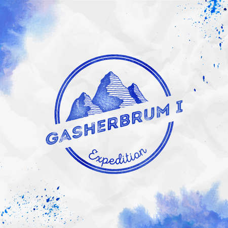 Gasherbrum I  Round expedition blue vector insignia. Gasherbrum I in Karakoram, Pakistan outdoor adventure illustration.
