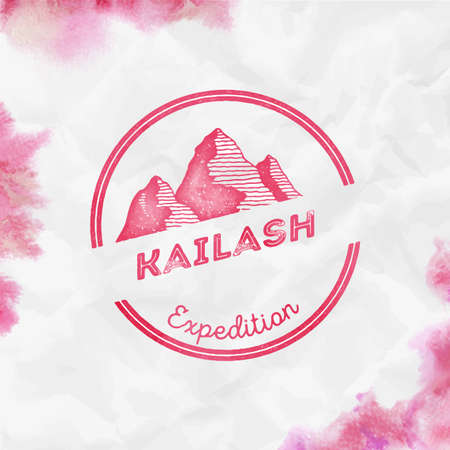 Kailash  Round expedition red vector insignia. Kailash in Himalayas, Tibet outdoor adventure illustration. Climbing, trekking, hiking, mountaineering and other extreme activities  template.