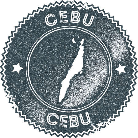 Cebu map vintage stamp. Retro style handmade label, badge or element for travel souvenirs. Dark blue rubber stamp with island map silhouette. Vector illustration.