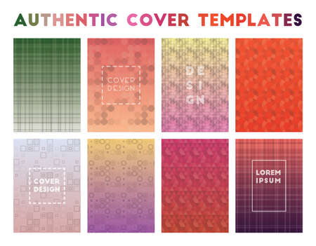Authentic Cover Templates. Admirable geometric patterns. Grand background. Vector illustration.