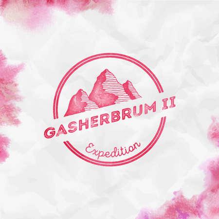 Gasherbrum II  Round expedition red vector insignia. Gasherbrum II in Karakoram, Pakistan outdoor adventure illustration. Ilustração