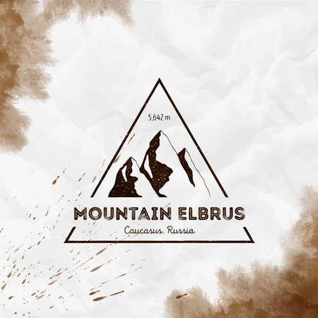 Elbrus   Triangular mountain sepia vector insignia. Elbrus in Caucasus, Russia outdoor adventure illustration. Illustration