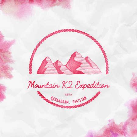 K2   Round trekking red vector insignia. K2 in Karakoram, Pakistan outdoor adventure illustration. Climbing, trekking, hiking, mountaineering and other extreme activities  template. Illustration