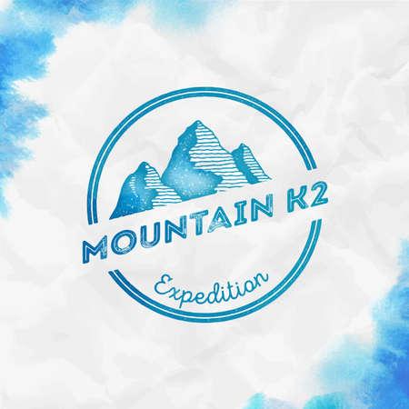 K2   Round expedition turquoise vector insignia. K2 in Karakoram, Pakistan outdoor adventure illustration. Climbing, trekking, hiking, mountaineering and other extreme activities   template. Иллюстрация