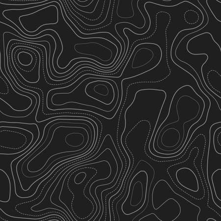 Topographic map background. Actual topography map. Dark seamless design, enchanting tileable isolines pattern. Vector illustration.