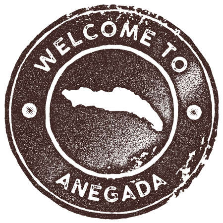 Anegada map vintage stamp. Retro style handmade label, badge or element for travel souvenirs. Brown rubber stamp with island map silhouette. Vector illustration.