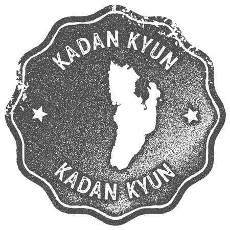 Kadan Kyun map vintage stamp. Retro style handmade label, badge or element for travel souvenirs. Grey rubber stamp with island map silhouette. Vector illustration.