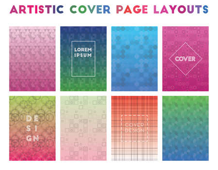 Artistic Cover Page Layouts. Alluring geometric patterns. Brilliant background. Vector illustration.