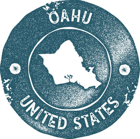 Oahu map vintage stamp. Retro style handmade label, badge or element for travel souvenirs. Blue rubber stamp with island map silhouette. Vector illustration.