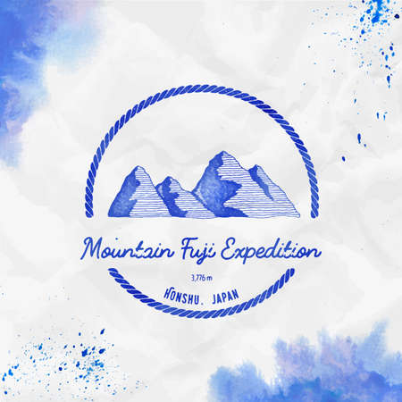 Fuji   Round trekking blue vector insignia. Fuji in Honshu, Japan outdoor adventure illustration. Climbing, trekking, hiking, mountaineering and other extreme activities  template.