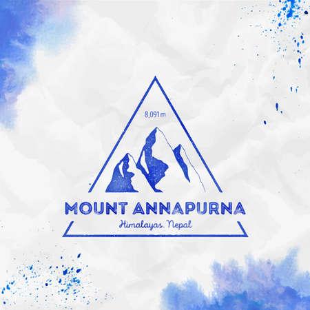 Mountain Annapurna  Triangular mountain blue vector insignia. Annapurna in Himalayas, Nepal outdoor adventure illustration.