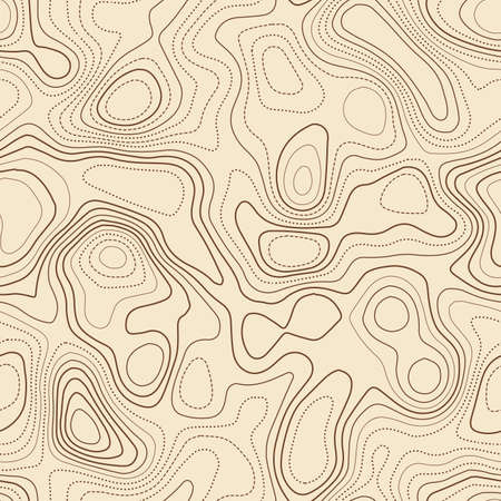 Topographic map lines. Actual topographic map. Seamless design, fine tileable isolines pattern. Vector illustration.