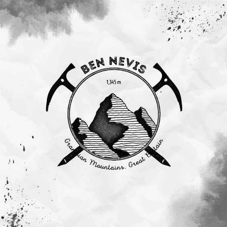 Ben Nevis  Climbing mountain black vector insignia. Ben Nevis in Grampian Mountains, Great Britain outdoor adventure illustration. 矢量图像