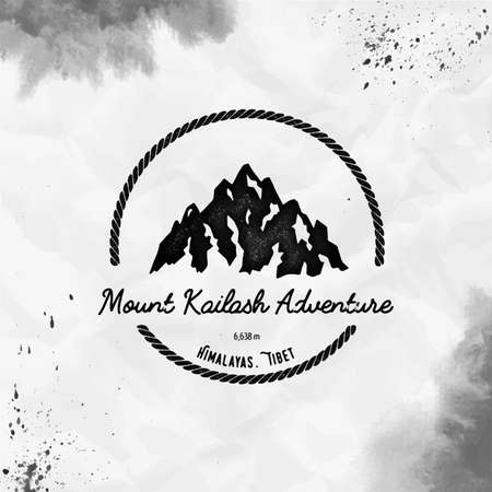 Kailash  Round hiking black vector insignia. Kailash in Himalayas, Tibet outdoor adventure illustration. Climbing, trekking, hiking, mountaineering and other extreme activities  template.