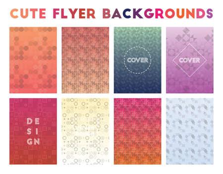 Cute Flyer Backgrounds. Adorable geometric patterns. Posh background. Vector illustration.