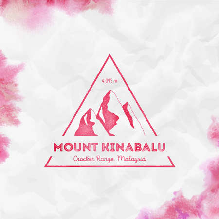 Kinabalu  Triangular mountain red vector insignia. Kinabalu in Crocker Range, Malaysia outdoor adventure illustration.