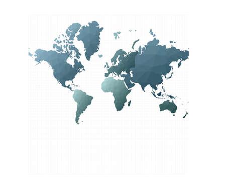 World map vector. Mercator projection. Artistic vector illustration.