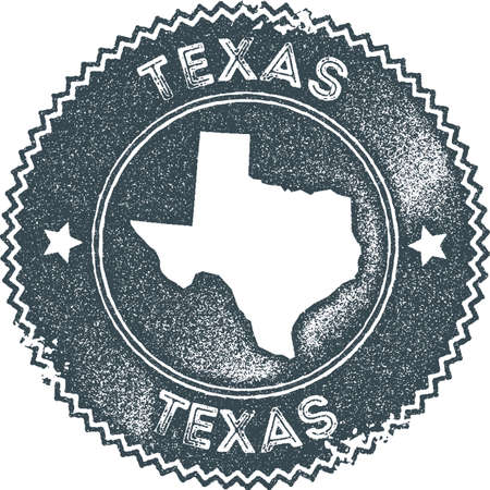 Texas map vintage stamp. Retro style handmade label, badge or element for travel souvenirs. Dark blue rubber stamp with us state map silhouette. Vector illustration.