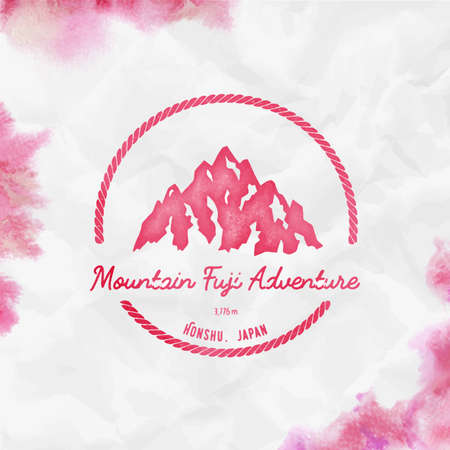 Fuji   Round hiking red vector insignia. Fuji in Honshu, Japan outdoor adventure illustration. Climbing, trekking, hiking, mountaineering and other extreme activities  template. Illustration