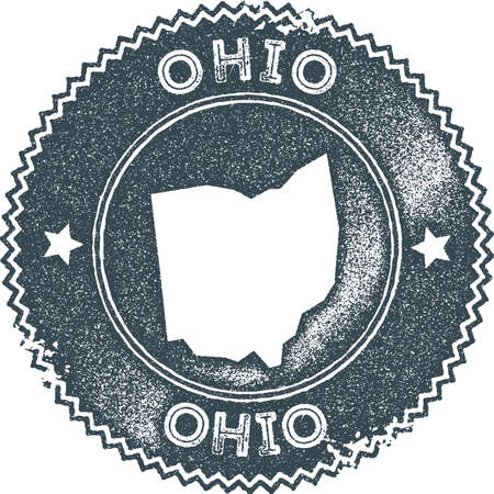 Ohio map vintage stamp. Retro style handmade label, badge or element for travel souvenirs. Dark blue rubber stamp with us state map silhouette. Vector illustration.  イラスト・ベクター素材
