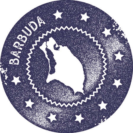 Barbuda map vintage stamp. Retro style handmade label, badge or element for travel souvenirs. Deep purple rubber stamp with island map silhouette. Vector illustration.