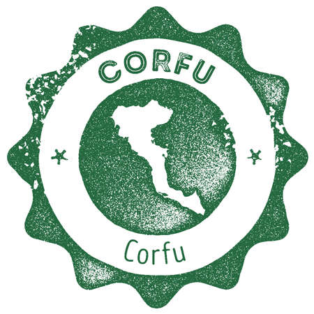 Corfu map vintage stamp. Retro style handmade label, badge or element for travel souvenirs. Dark green rubber stamp with island map silhouette. Vector illustration.