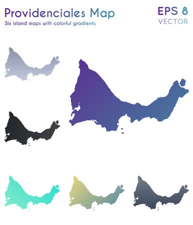 Map of Providenciales with beautiful gradients. Authentic set of Providenciales maps. Amusing vector illustration.