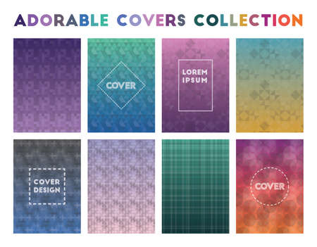 Adorable Covers Collection. Actual geometric patterns. Favorable background. Vector illustration. Reklamní fotografie - 123120021