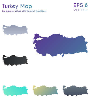 Map of Turkey with beautiful gradients. Amazing set of Turkey maps. Superb vector illustration.