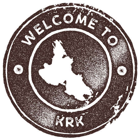 Krk map vintage stamp. Retro style handmade label, badge or element for travel souvenirs. Brown rubber stamp with island map silhouette. Vector illustration.