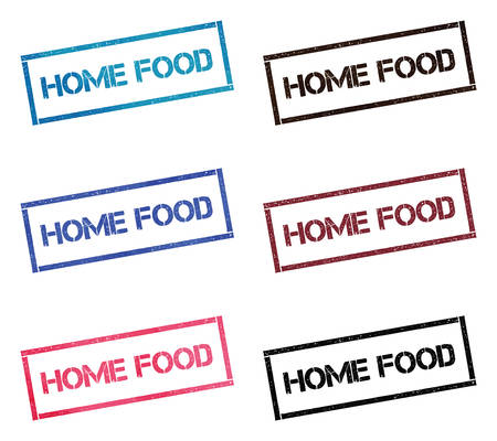 Home food rectangular stamp collection. Textured seals with text isolated on white backgound. Stamps in turquoise, red, blue, black and sepia colors. Colourful watercolor style vector illustration. Иллюстрация