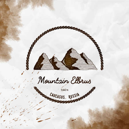 Elbrus   Round trekking sepia vector insignia. Elbrus in Caucasus, Russia outdoor adventure illustration. Climbing, trekking, hiking, mountaineering and other extreme activities Çizim