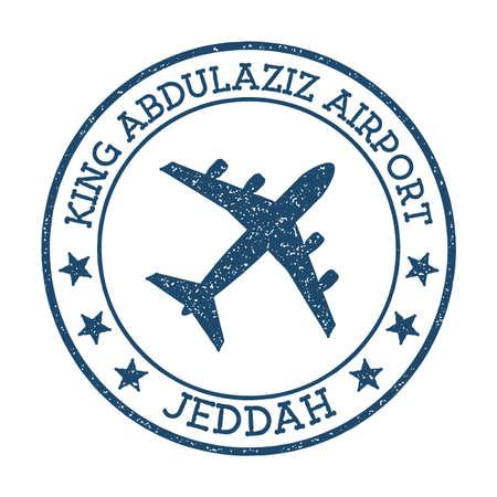 King Abdulaziz Airport Jeddah logo. Airport stamp vector illustration. Jeddah aerodrome.