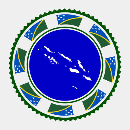 Solomon Islands flat stamp.  map and flag of Solomon Islands. Vector illustration.