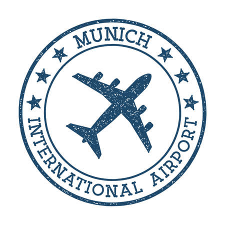 Munich International Airport logo. Airport stamp vector illustration. Munich aerodrome. Ilustração