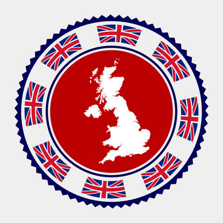United Kingdom flat stamp.  map and flag of United Kingdom. Vector illustration. Illustration
