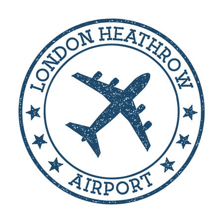 London Heathrow Airport logo. Airport stamp vector illustration. London aerodrome.