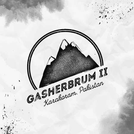 Gasherbrum II  Round mountain black vector insignia. Gasherbrum II in Karakoram, Pakistan outdoor adventure illustration. 矢量图像